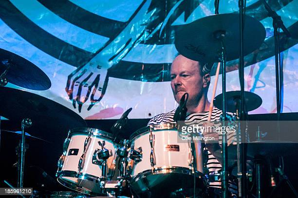 Drummer Simon Crowe of The Boomtown Rats performs onstage for the first time in London for 25 years at The Roundhouse on October 26 2013 in London...
