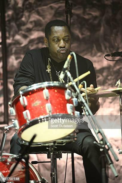 Drummer Steve Jordan performs on stage at Club Nokia on January 17 2015 in Los Angeles California