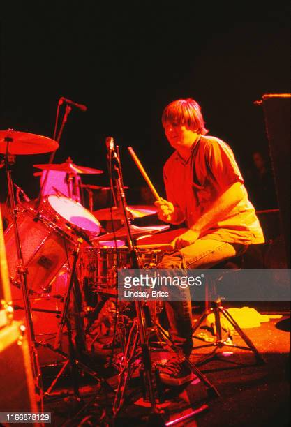 Drummer Steve Shelley performs with guitarist and vocalist Thurston Moore bassist and vocalist Kim Gordon and guitarist Lee Renaldo in Sonic Youth on...