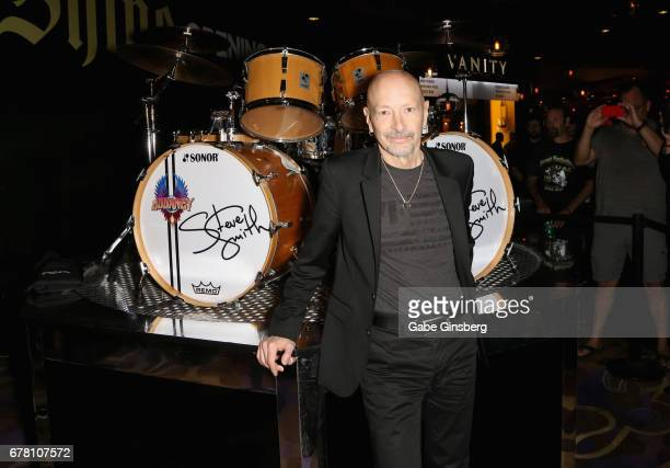 Drummer Steve Smith of Journey attends a drum exhibit dedication for Smith at the Hard Rock Hotel Casino on May 3 2017 in Las Vegas Nevada