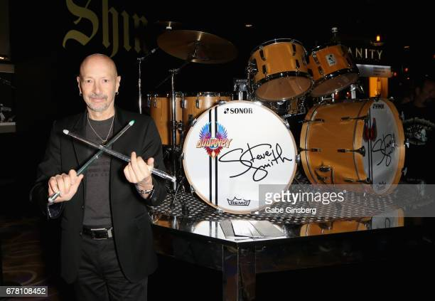 Drummer Steve Smith of Journey shows off light up drumsticks during a drum exhibit dedication for Smith at the Hard Rock Hotel Casino on May 3 2017...