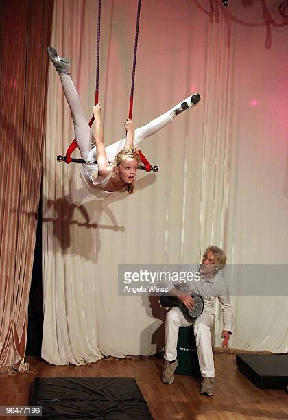 Drummer Stewart Copeland and his daughter perform at the 'Hands For Haiti' acoustic cirque show to benefit Doctors Without Borders at Le Studio...
