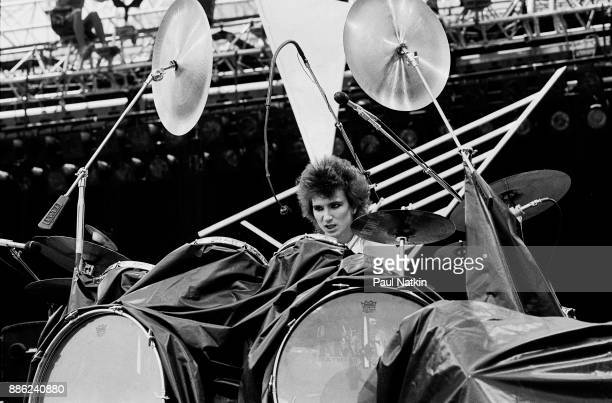 Drummer Terry Bozzio of the band Missing Persons performs at the US Festival in Ontario California May 29 1983