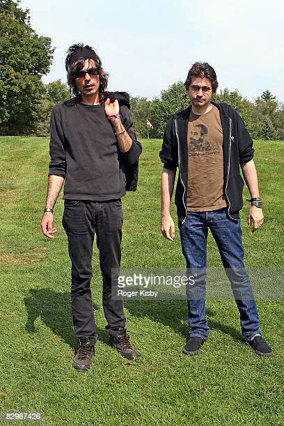 Drummer Todd Trainer and singer/guitarist Steve Albini of Shellac pose during the ATP New York 2008 music festival at Kutshers Country Club on...