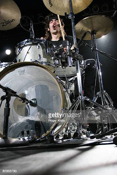 Drummer Todd Trainer of Shellac performs onstage during the ATP New York 2008 music festival at Kutshers Country Club on September 20, 2008 in...
