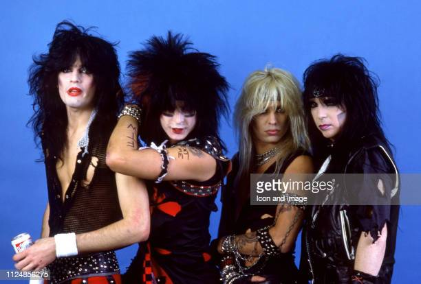 Drummer Tommy Lee bassist Nikki Sixx lead singer Vince Neil and lead guitarist Mick Mars of the American hard rock band Motley Crue pose for a studio...