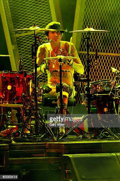 Drummer Tommy Lee of Motley Crue headlines CrueFest at the Verizon Wireless Amphitheater on July 23 2008 in San Antonio Texas