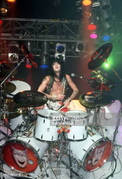 Drummer Tommy Lee of the American hard rock band Motley Crue poses for a studio portrait during the Theater of Pain Tour on September 15 at Joe Louis...
