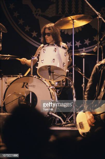 Drummer Tommy Ramone of the punk-rock band The Ramones performs at Atlanta Municipal Auditorium on February 25, 1978 in Atlanta, Georgia.