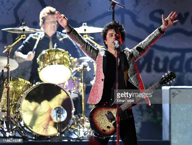 Drummer Tre Cool and frontman Billie Joe Armstrong of Green Day perform onstage during the 2019 iHeartRadio Music Festival at TMobile Arena on...