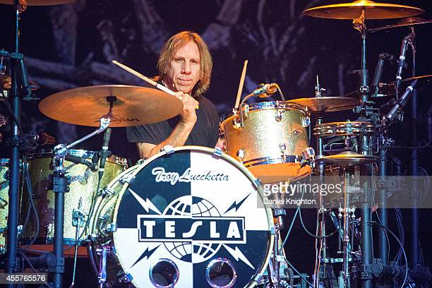 Drummer Troy Luccketta performs on stage with Tesla on September 19 2014 in El Cajon California