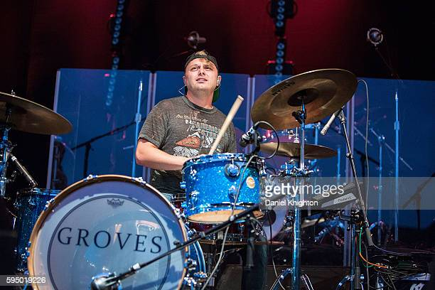 Drummer Will Smith of Groves performs on stage at Humphrey's on August 24 2016 in San Diego California