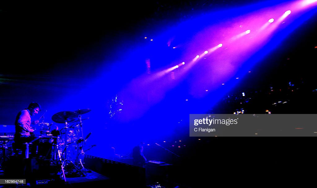 Drummer Zach Velmer of Sound Tribe Sector 9 (STS9) performs at The Fox Theatre on March 1, 2013 in Oakland, California.