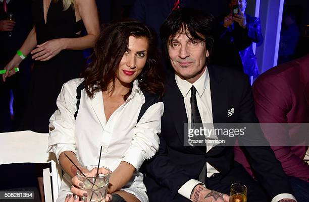 Drummer/DJ Tommy Lee and Sofia Toufa attend Glazer Palooza and Suits and Sneakers on February 3 2016 in San Francisco California