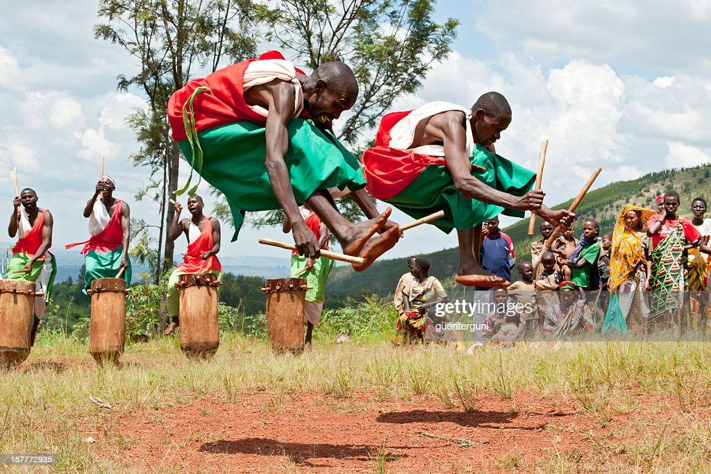 Drummers and Dancers of Gitega in Burundi, Africa : Stock Photo