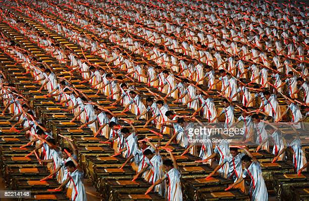 Drummers are pictured during the Opening Ceremony for the 2008 Beijing Summer Olympics at the National Stadium on August 8 2008 in Beijing China