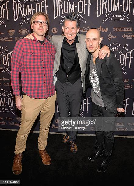 Drummers Brooks Wackerman Adrian Young and Frank Zummo attend the finals of Guitar Center's 26th Annual DrumOff at Club Nokia on January 17 2015 in...