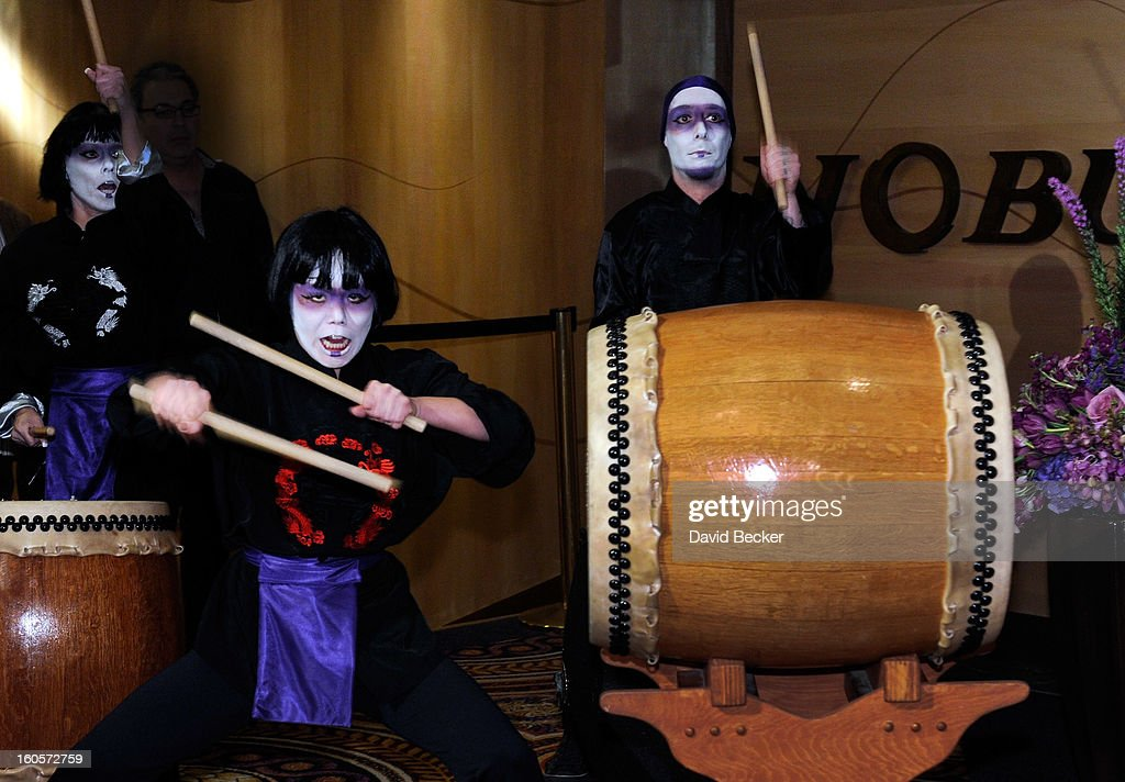Drummers entertain guests before a ribbon-cutting ceremony at a preview for the Nobu Restaurant and Lounge Caesars Palace on February 2, 2013 in Las Vegas, Nevada. The Nobu Hotel Restaurant and Lounge Casears Palace is scheduled to open on February 4.