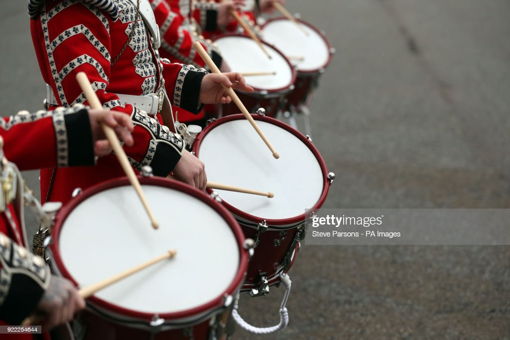 Drummers from the Corps of Drums of the Coldstream Guards march in front of soldiers from the 1st Battalion Coldstream Guards at Victoria Barracks in Windsor, Berkshire, as they prepare for Trooping the Colour.