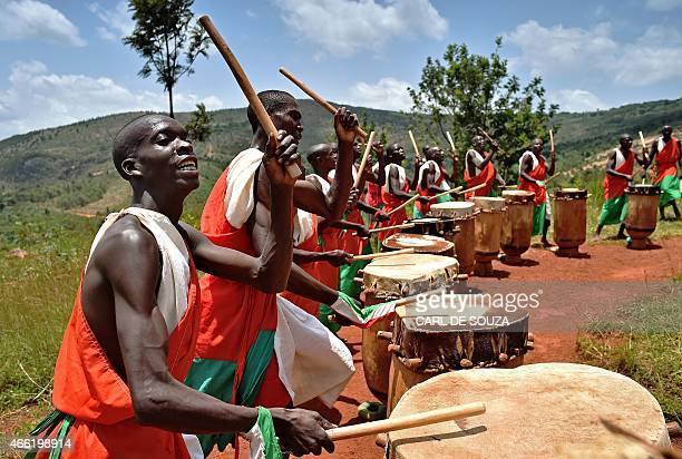Drummers from the Gishora drumming group perform in Gishora on March 14 2015 The group's leader Anthime Baranshakaje used to perform for Burundi's...