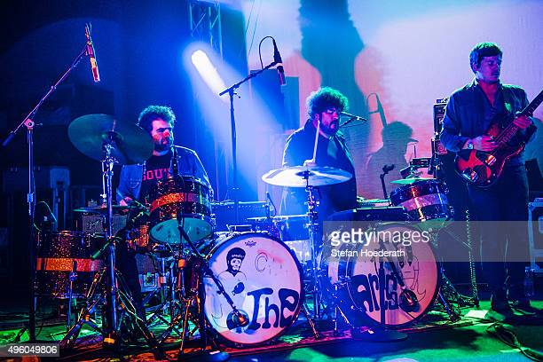 Drummers Homer Steinweiss and Richard Swift and bassist Nick Movshon of The Arcs perform live on stage during a concert at Postbahnhof on November 6...