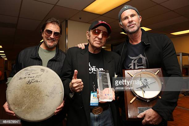 Drummers Jim Keltner Hal Blaine and Chad Smith attend the NAMM Tec Awards at the Anaheim Hilton on January 24 2014 in Anaheim California