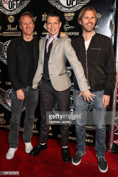 Drummers Josh Freese Adrian Young and Brooks Wackerman arrive at Guitar Center's 'Drum Off' grand final at Club Nokia on January 19 2013 in Los...