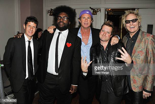 """Drummers Michael Diamond """"Mike D"""" of the Beastie Boys, Questlove of The Roots, Chad Smith of the Red Hot Chili Peppers, Frank Wright """"Tre Cool of..."""