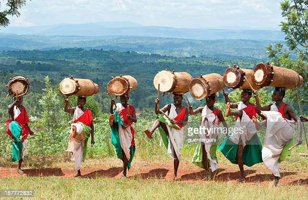 drummers of gitega in burundi, africa - burundi east africa stock pictures, royalty-free photos & images