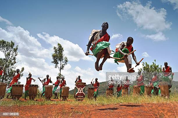Drummers of the Gishora drumming group performs in Gishora on March 14 2015 With wild dancing to a furious beat booming wooden drums echo over a hill...