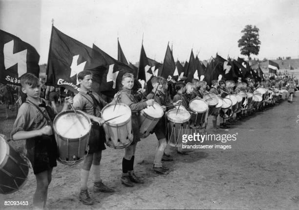 Drummers of the Hitler Youth in the German Stadium, Berlin, Photograph, 1933 [Trommler der Hitler Jugend im Deutschen Stadion, Berlin, Photographie,...