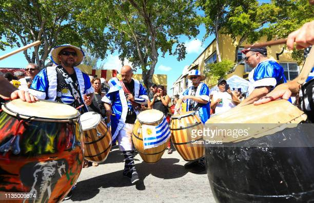 Drummers of Tocando Candombe Miami from Uruguay perform at the annual Calle Ocho Festival in the Little Havana community on March 10 2019 in Miami...