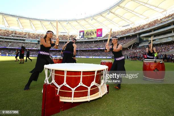 Drummers perform as the Dockers run out onto the field during the round two AFLW match between the Fremantle Dockers and the Collingwood Magpies at...
