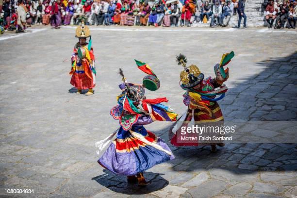 Drummers Perform During Paro Tsechu Celebrations at Rinpung Dzong Monastery in Paro, Bhutan Springtime