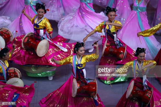 Drummers perform during the Opening Ceremony for the 2008 Beijing Summer Olympics at the National Stadium on August 8, 2008 in Beijing, China.