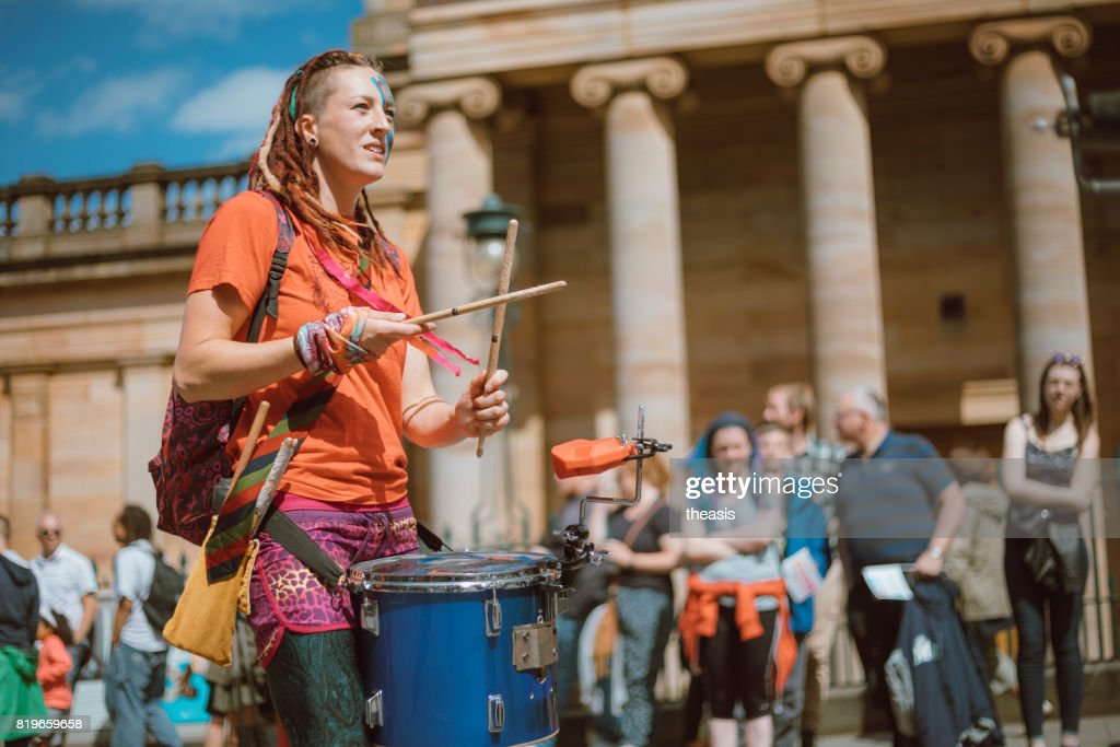 Drummers Perform in an Edinburgh Street Parade : Stock Photo