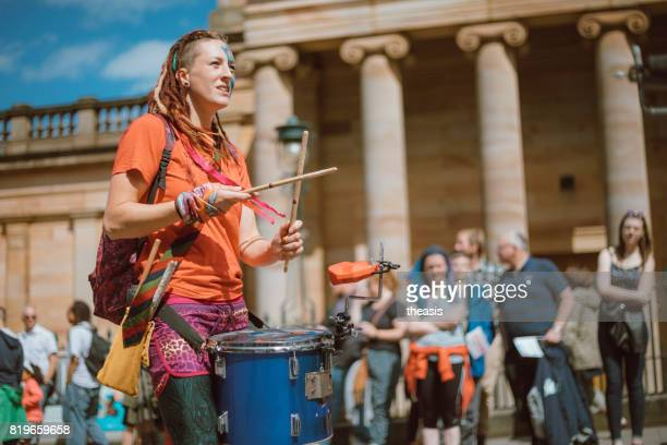 Drummers Perform in an Edinburgh Street Parade