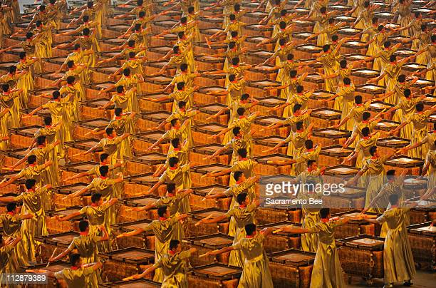 Drummers perform in the National Stadium during the opening ceremony on Friday August 8 to kick of the Games of the XXIX Olympiad in Beijing China