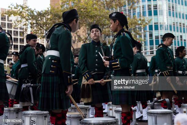 Drummers prepare for the ANZAC Day March on April 25 2019 in Sydney Australia Australians commemorating 104 years since the Australian and New...