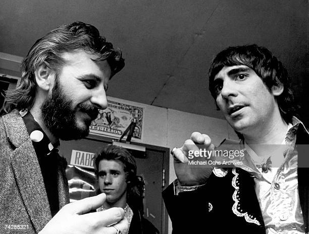Drummers Ringo Starr and Keith Moon have a pow wow in April 1974 in Los Angeles California