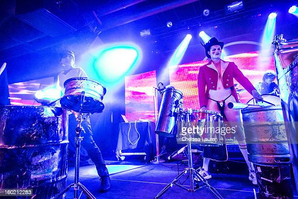 Drummers Tommy Lee of Motley Crue and Adrian Young of No Doubt perform at Street Drum Corps' 'Lost Vegas' show at Hard Rock Hotel and Casino on...