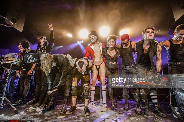 Drummers Tommy Lee Stephen Perkins Casey Lewis Bobby Alt Frank Zummo Adrian Young Lauren Baird Jared Hren Adam Alt and Justin Imamura perform at...