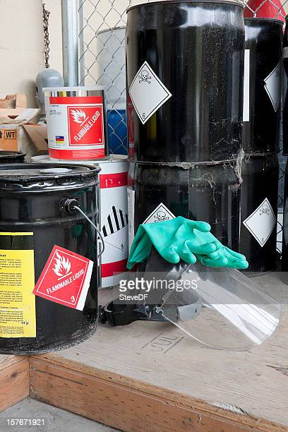 drums and containers of poisonous and flammable substances - flammable stock photos and pictures