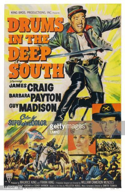 Drums In The Deep South poster US poster art from top James Craig Barbara Payton Guy Madison 1951