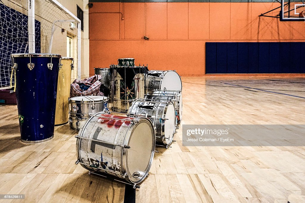 Drums On Basketball Court : Stock Photo