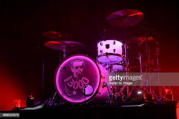 Drumset of Django 3000 on stage at Muffathalle on March 19 2015 in Munich Germany
