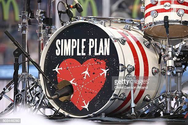 Drumset of Simple Plan set up to play between the period of the Montreal Canadiens against the Boston Bruins during the 2016 Bridgestone NHL Winter...