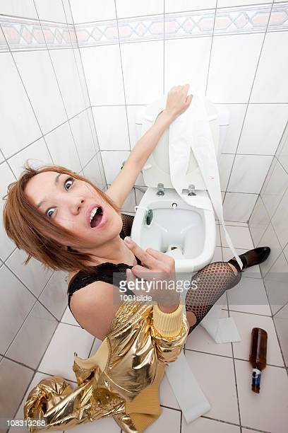Drunk and Angry woman in toilet
