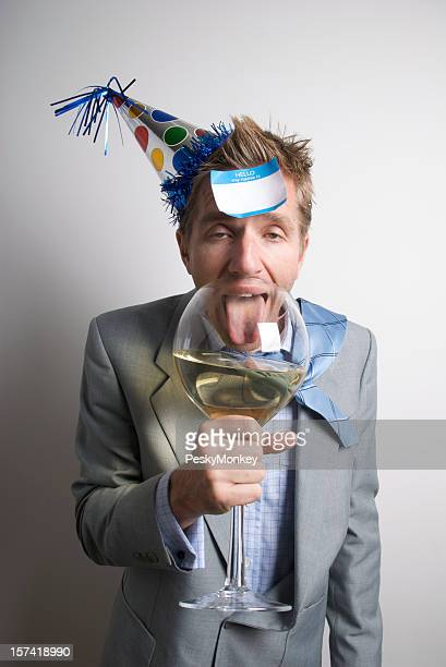 Drunk Businessman Office Worker Drinking with Name Tag