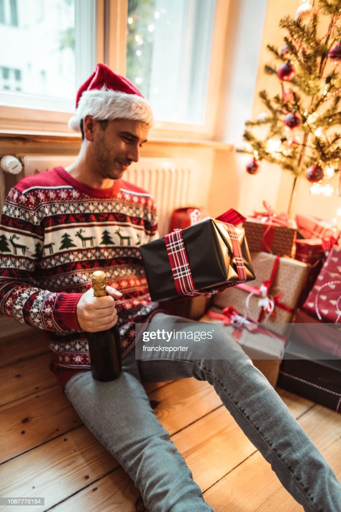 Alone For Christmas.Drunk Man Alone For Christmas Stock Photo Getty Images